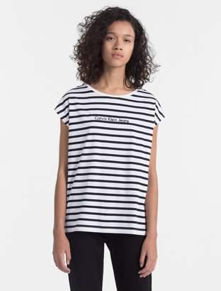 Calvin Klein striped logo cap sleeve t-shirt