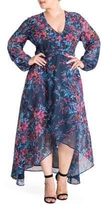 Standards & Practices Floral Chiffon Maxi Dress
