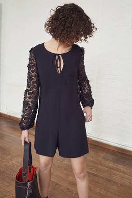 French Connenction Malaita Lace Tie Neck Playsuit