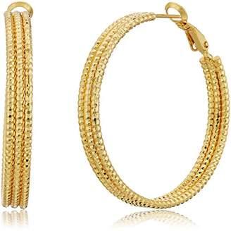 14K Gold Plated 40X5MM Diamond Cut Hoop Earrings Paddle Back
