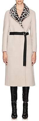 BLANCHA Women's Leopard-Pattern-Lapel Shearling Belted Coat