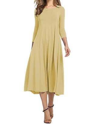 AUDATE Women's Scoop Neck 3/4 Sleeve Casual A Line Flare Dress L
