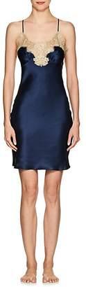 GILDA & PEARL Women's Gina Lace-Trimmed Silk Slip - Navy