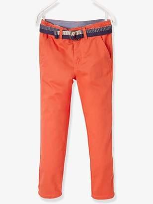Boys' Chinos with Belt - orange bright solid