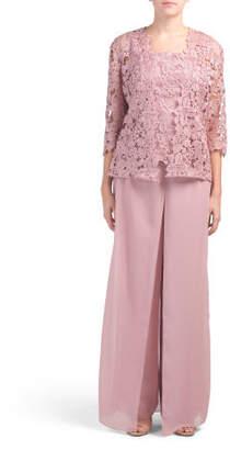 Lace Top & Bolero Jacket With Chiffon Pant Set