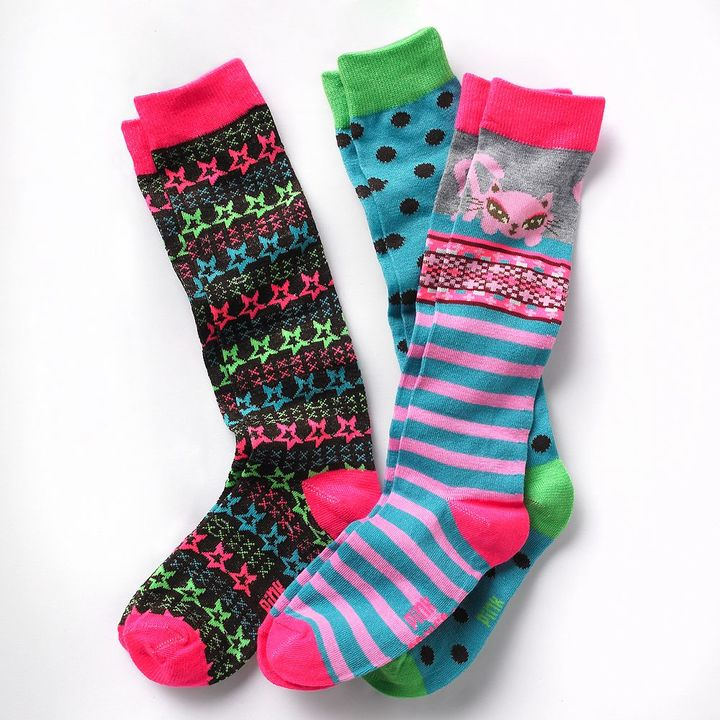 Pink Cookie 3-pk. kitty knee-high socks - girls