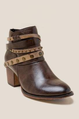 Wanted Whipper Multi Strap Western Ankle Boot - Brown