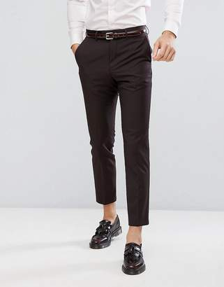 French Connection Skinny Wedding Suit PANTS In Dark Burgundy