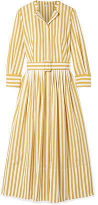Oscar de la Renta Striped Cotton-poplin Midi Dress - Saffron