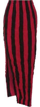 Juan Carlos Obando Striped Crinkled Silk Crepe De Chine Maxi Skirt