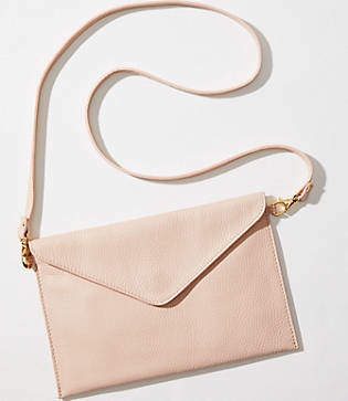 LOFT Luxe Leather Envelope Crossbody Bag
