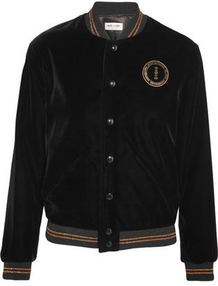 Saint Laurent - Palladium Embellished Embroidered Velvet Bomber Jacket - Black $2,590 thestylecure.com