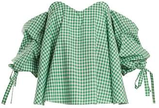 Caroline Constas Gabriella Off The Shoulder Gingham Top - Womens - Green White