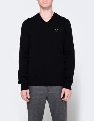 Comme des Garcons Play V-Neck Pullover in Black