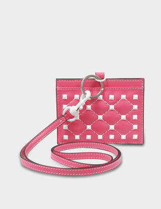 3f9b4e136a3458 Valentino Free Rockstud Spike Badge Holder in Shadow Pink Nappa Leather