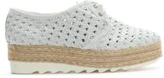 Donna Più Shirlington White Leather Lace Up Woven Flatform Espadrilles