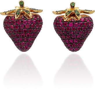 Khai Khai 18K Gold Ruby And Tsavorite Earrings