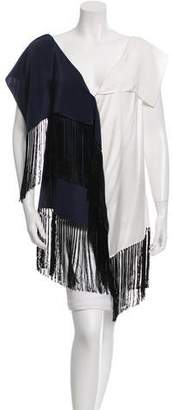 Dusan Silk Fringe-Accented Top w/ Tags