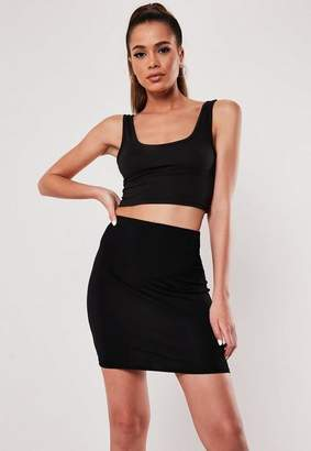 Missguided Black Basic Jersey Mini Skirt