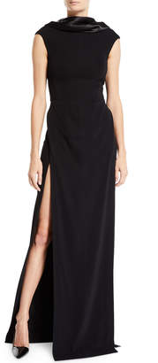 Thierry Mugler Satin Cowl-Neck Cap-Sleeve Gown