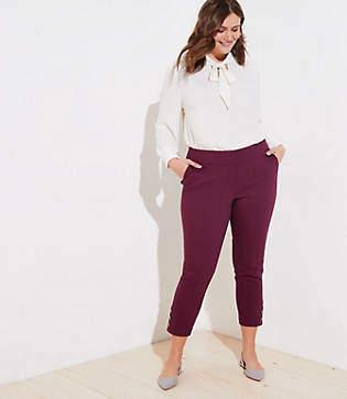LOFT Plus Skinny Button Cuff Ankle Pants