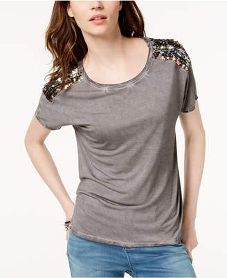INC International Concepts I.n.c. Crew-Neck Sequin-Embellished T-Shirt, Created for Macy's