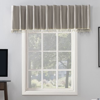 Sun Zero Evelina Faux Dupioni Silk Back Tab 100% Blackout Window Valance