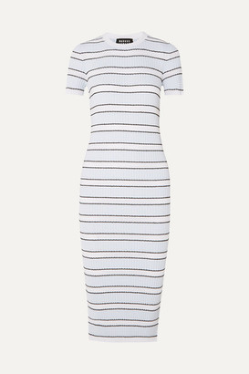 Markus Lupfer Mary Striped Plisse-knit Midi Dress - Blue