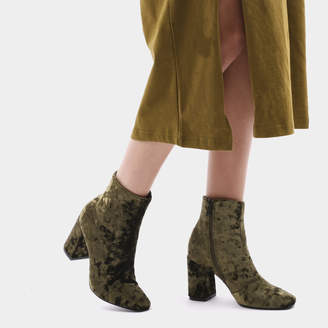Public Desire Cleo Crushed Velvet Ankle Boots in Khaki