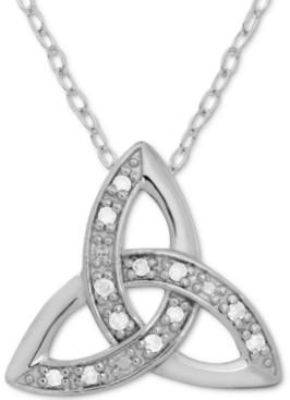 "Celtic Marsala Diamond Trinity 18"" Pendant Necklace (1/10 ct. t.w.) in Sterling Silver"