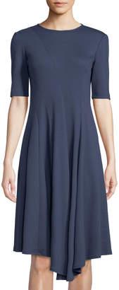 Lafayette 148 New York Aveena Short-Sleeve Wool Midi Dress