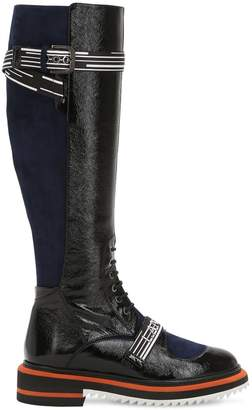 Lanvin 25mm Patent Leather & Suede Tall Boots