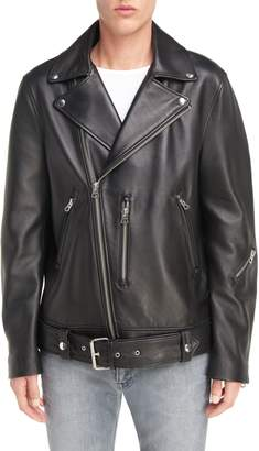Acne Studios Nate Belted Leather Moto Jacket