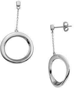 Lord & Taylor Sterling Silver Round Drop Hoop Earrings
