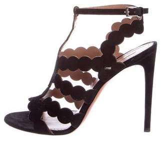 Alaia Suede Scalloped Sandals