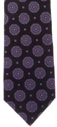 Isaia Geometric Jacquard Silk Tie