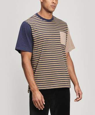 Multi-Stripe Pocket Cotton T-Shirt