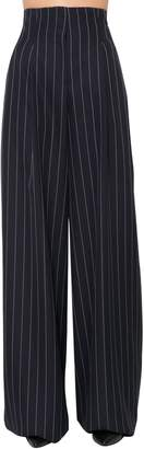Juun.J High Waist Striped Wool Wide Pants