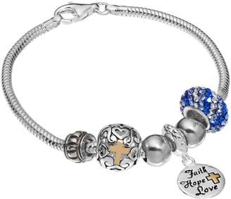 "Individuality Beads 14k Gold Over Silver Snake Chain Bracelet & ""Faith, Hope, Love"" Charm & Bead Set"
