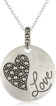 "Sterling Genuine Marcasite Heart""Love"" Sentiment Disc Pendant Necklace"