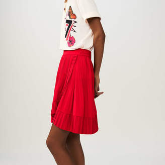 Maje Wrap short pleated skirt