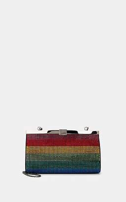 Christian Louboutin Women's Palmette Rainbow-Embellished Suede Clutch