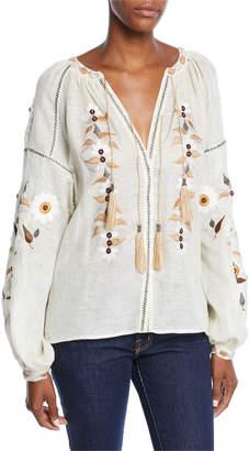Vita Kin Embroidered Tassel-Tie Peasant Blouse