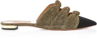 Aquazzura Mondaine Knotted Metallic-Trimmed Grosgrain Mules
