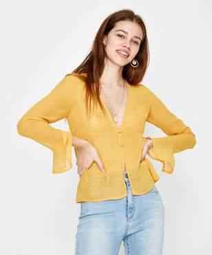 Alice In The Eve Slimline Plunge Blouse Yellow