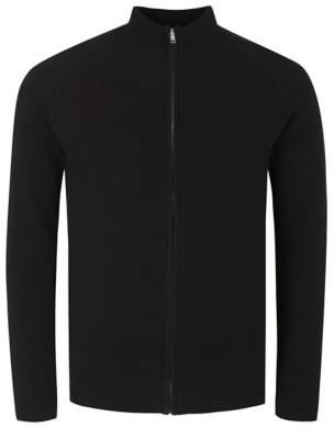 George Black High Neck Ribbed Jacket