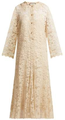 Gucci Floral And Eyelash Lace Midi Dress - Womens - Ivory