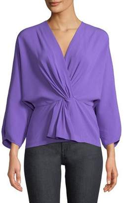 Diane von Furstenberg Crepe Twist-Front Long-Sleeve Wrap Top