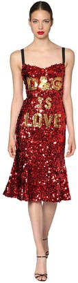 Dolce & Gabbana Is Love Sequined Midi Dress