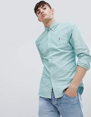 Polo Ralph Lauren player logo slim fit oxford shirt buttondown pocket in green